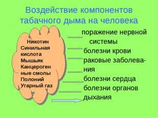 Воздействие компонентов табачного дыма на человека поражение нервной системы