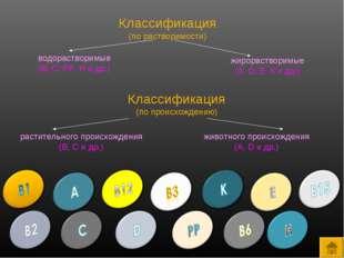 Классификация (по растворимости) водорастворимые (В, С, РР, Н и др.) жирораст