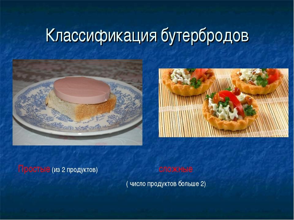 Классификация бутербродов Простые (из 2 продуктов) сложные ( число продуктов...