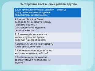 Экспертный лист оценки работы группы. 1. Как группа приступила к работе? (сра