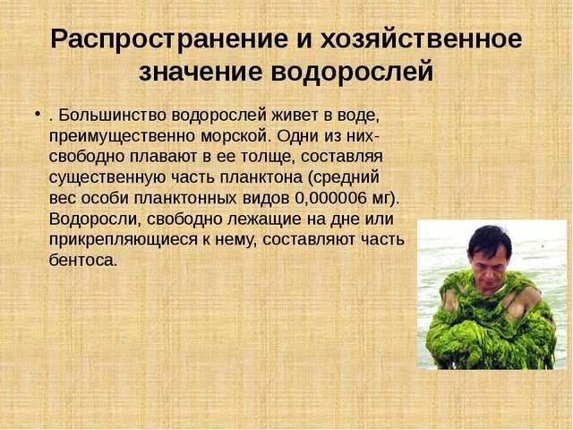 Распространение и хозяйственное значение водорослей . Большинство водорослей...