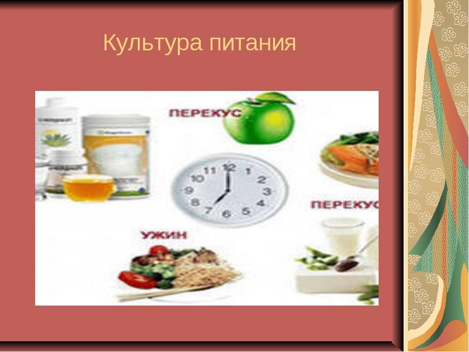 Культура питания