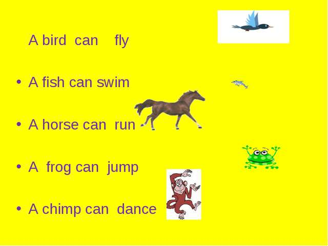 A bird can fly A fish can swim A horse can run A frog can jump A chimp can d...