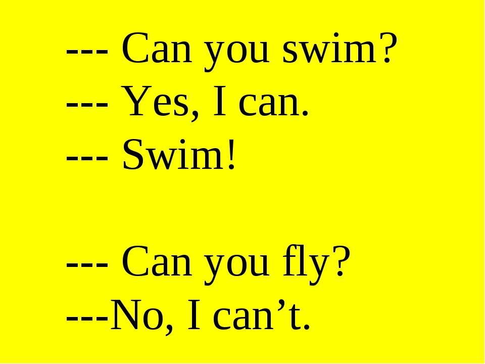 --- Can you swim? --- Yes, I can. --- Swim! --- Can you fly? ---No, I can't.