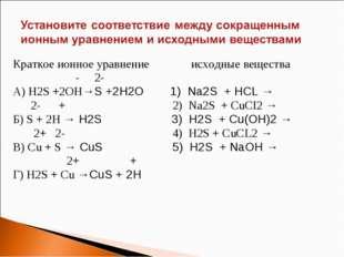 Краткое ионное уравнение исходные вещества - 2- А) H2S +2OH→S +2H2O 1) Na2S +