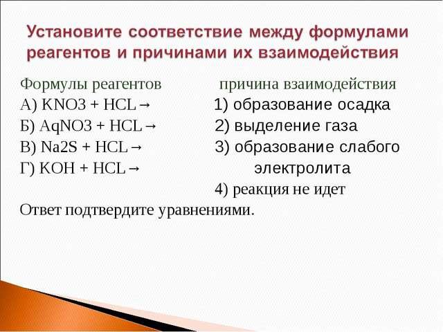 Формулы реагентов причина взаимодействия А) KNO3 + HCL→ 1) образование осадка...