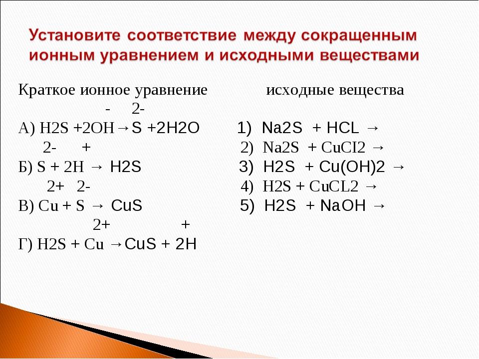 Краткое ионное уравнение исходные вещества - 2- А) H2S +2OH→S +2H2O 1) Na2S +...