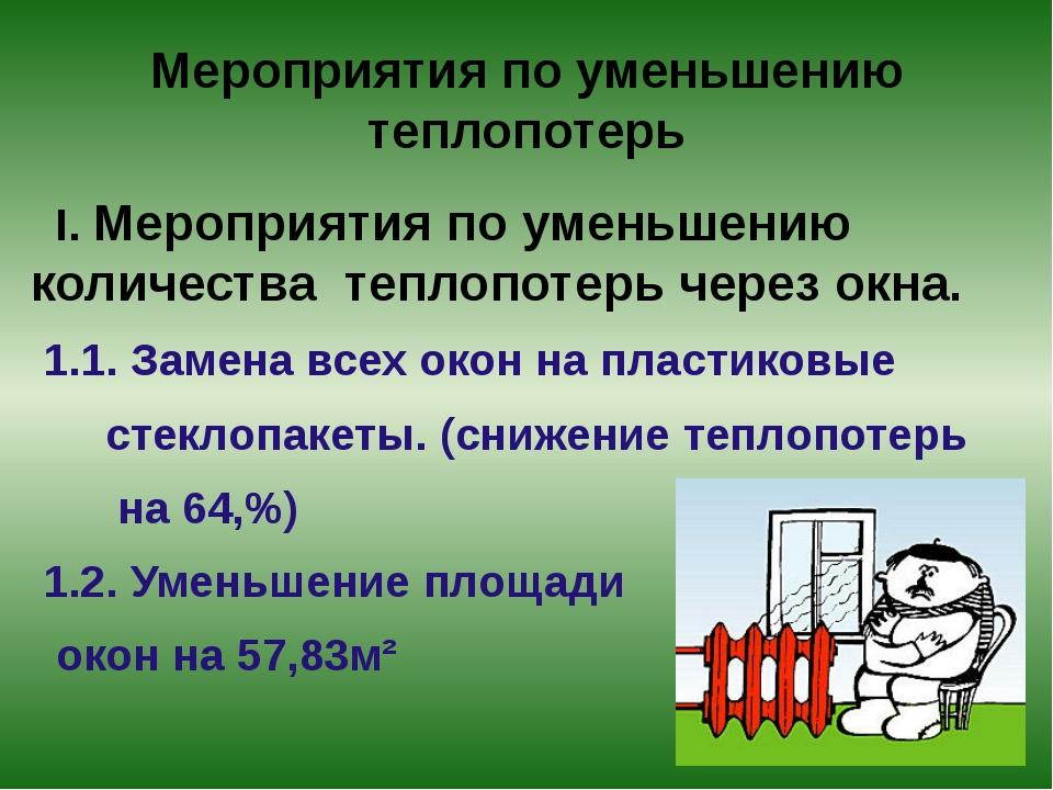 Мероприятия по уменьшению теплопотерь I. Мероприятия по уменьшению количества...