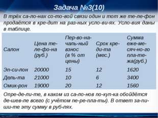 Задача №3(10) В трёх салонах сотовой связи один и тот же телефон продаё