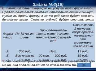 Задача №3(16) В таблице даны тарифы на услуги трех фирм такси. Предпол