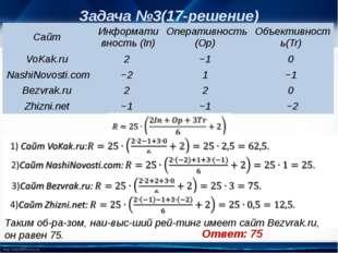 Задача №3(17-решение) Таким образом, наивысший рейтинг имеет сайт Bezvra