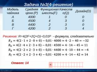 Ответ: 14 Задача №3(4-решение) Решение: R=4(2F+2Q+D)−0,01P - формула, следов