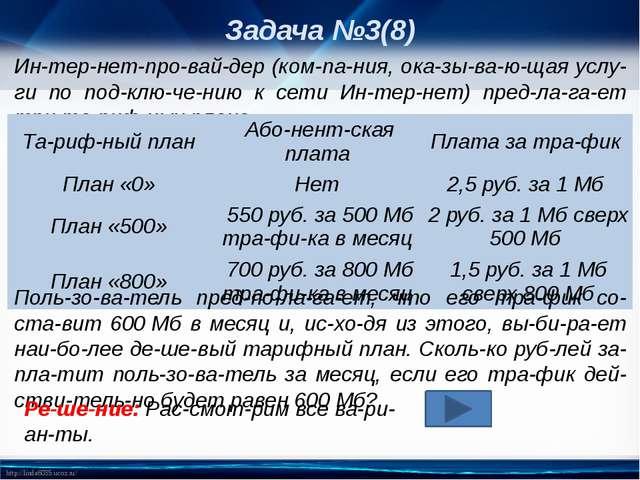 Задача №3(8) Интернет-провайдер (компания, оказывающая услуги по п...