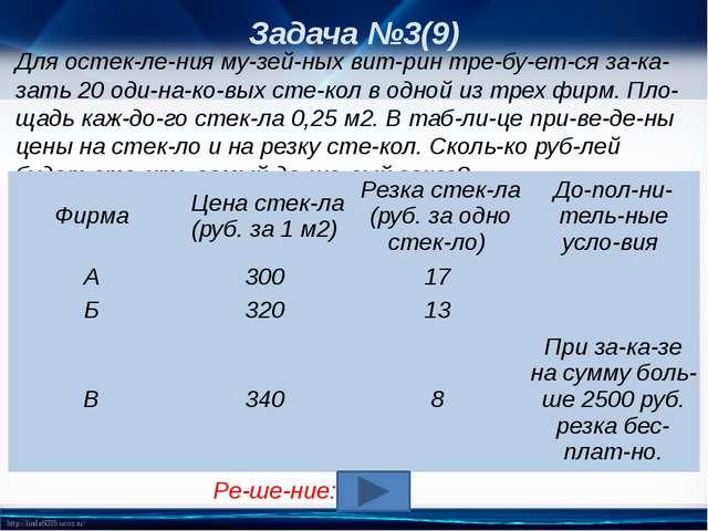 Задача №3(9) Для остекления музейных витрин требуется заказать 20о...