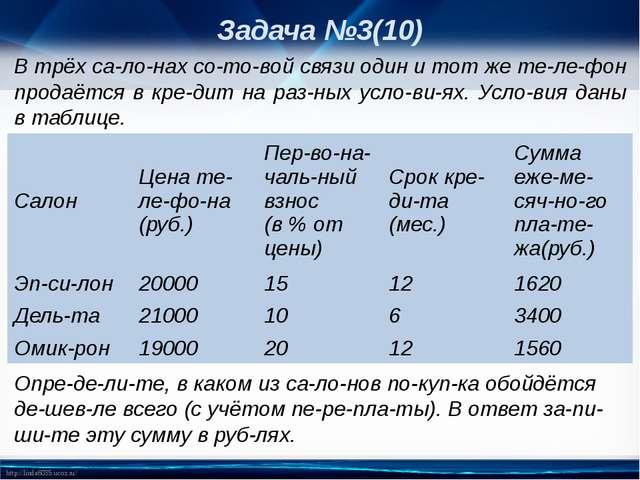 Задача №3(10) В трёх салонах сотовой связи один и тот же телефон продаё...