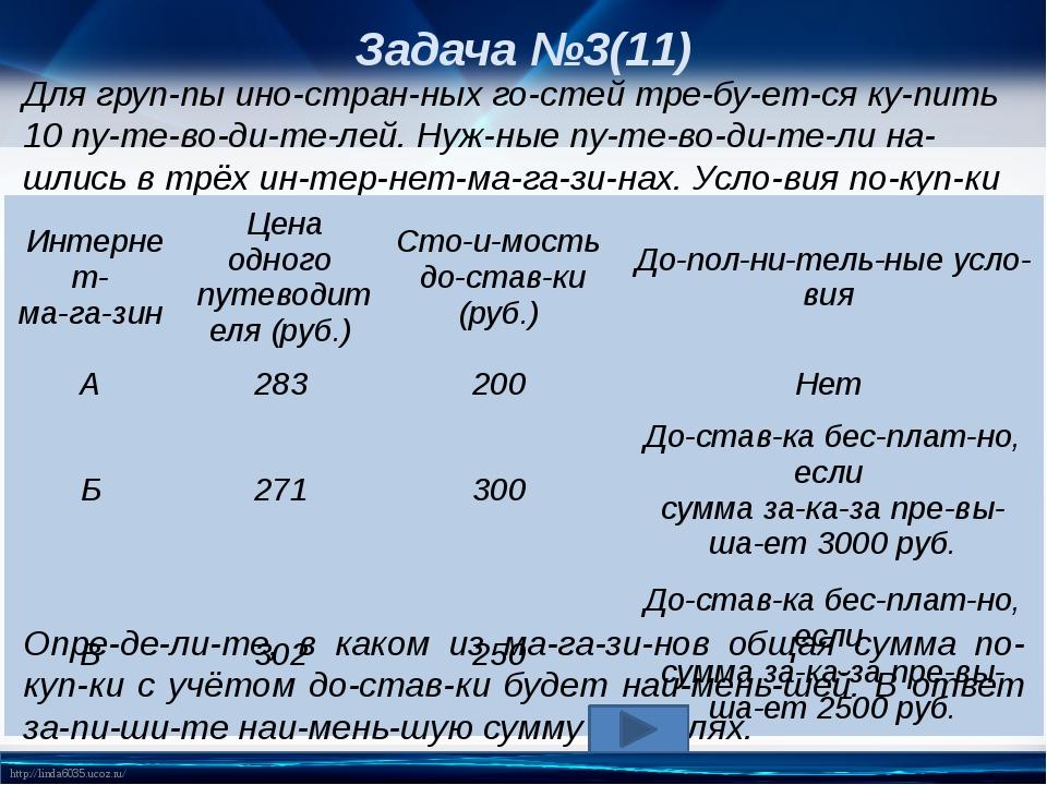 Задача №3(11) Для группы иностранных гостей требуется купить 10 путе...