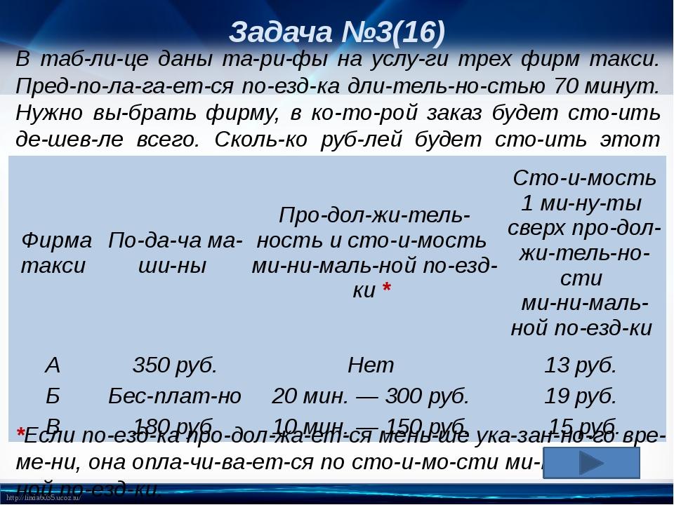 Задача №3(16) В таблице даны тарифы на услуги трех фирм такси. Предпол...