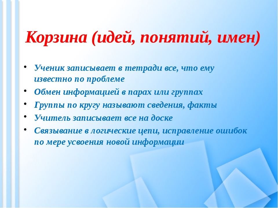 Корзина (идей, понятий, имен) Ученик записывает в тетради все, что ему извес...