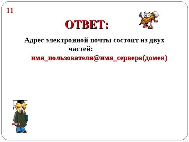 Адрес электронной почты состоит из двух частей: имя_пользователя@имя_сервера(...