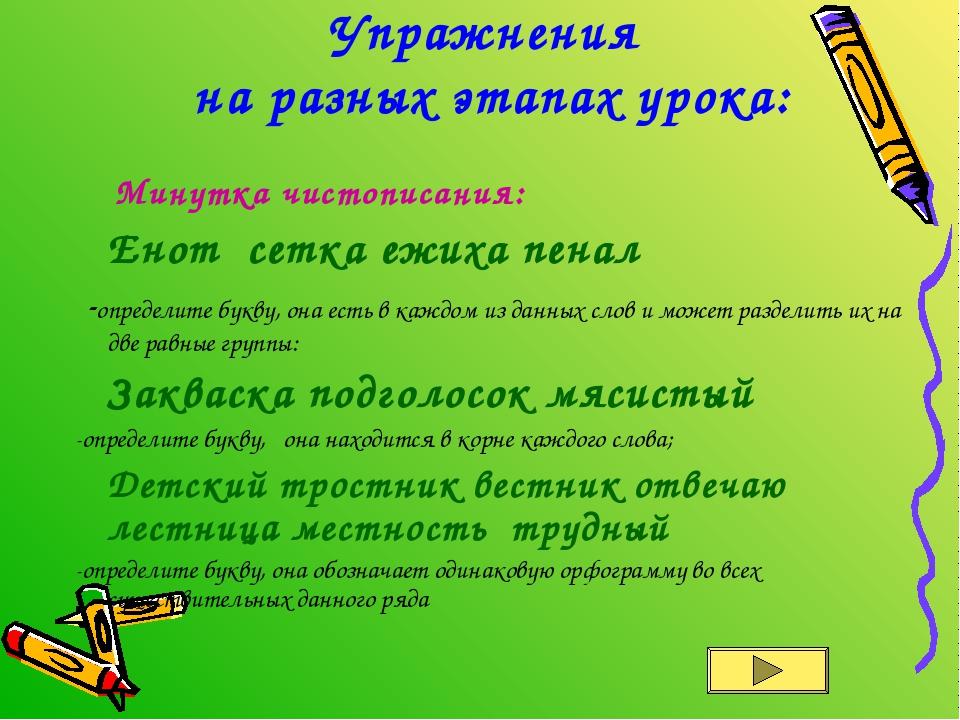 Упражнения на разных этапах урока: Минутка чистописания: Енот сетка ежиха пе...