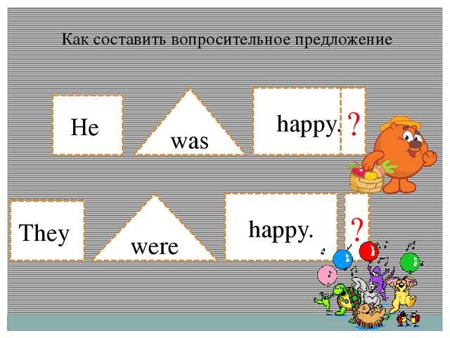 He They was were happy. happy. ? ? Как составить вопросительное предложение