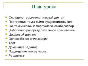 План урока Словарно-терминологический диктант Повторение темы «Имя существите