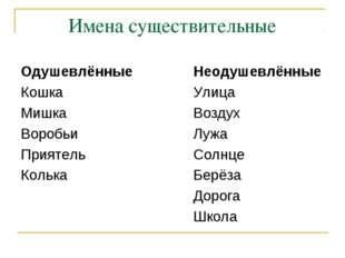 Имена существительные ОдушевлённыеНеодушевлённые КошкаУлица МишкаВо