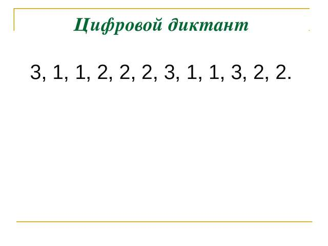 Цифровой диктант 3, 1, 1, 2, 2, 2, 3, 1, 1, 3, 2, 2.