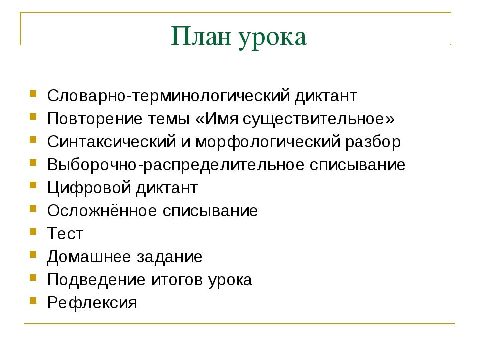 План урока Словарно-терминологический диктант Повторение темы «Имя существите...