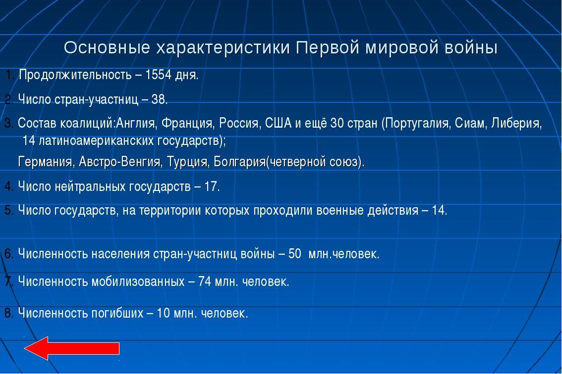Основные характеристики Первой мировой войны 1. Продолжительность – 1554 дня....