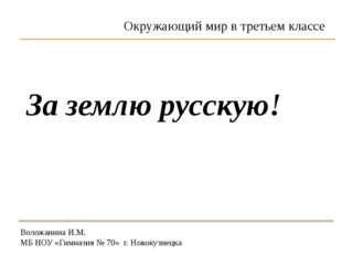 Воложанина И.М. МБ НОУ «Гимназия № 70» г. Новокузнецка За землю русскую! Окру