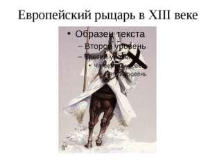 Европейский рыцарь в XIII веке