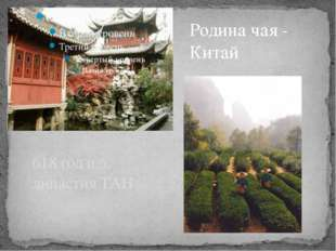 618 год н.э. династия ТАН Родина чая - Китай