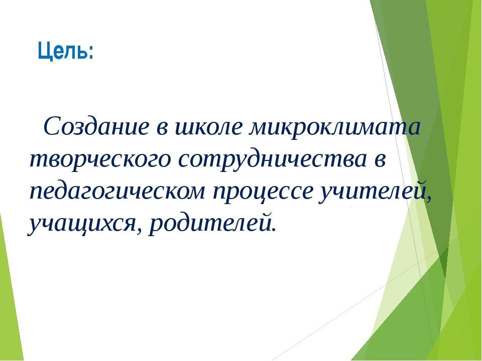 Цель: Создание в школе микроклимата творческого сотрудничества в педагогическ...