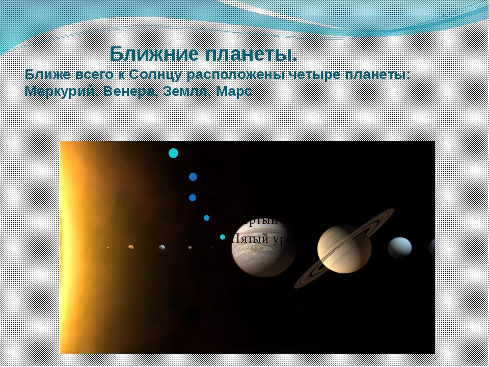 Ближние планеты. Ближе всего к Солнцу расположены четыре планеты: Меркурий,...