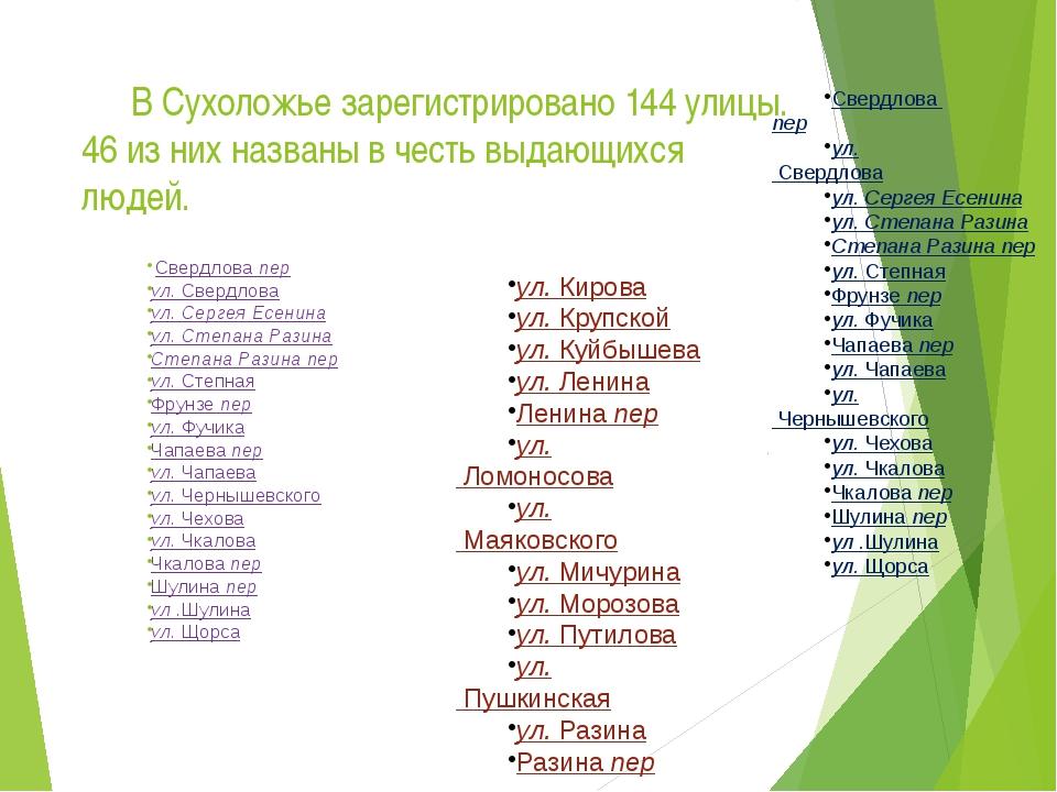 В Сухоложье зарегистрировано 144 улицы. 46 из них названы в честь выдающихся...