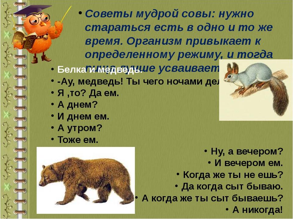 Советы мудрой совы: нужно стараться есть в одно и то же время. Организм привы...