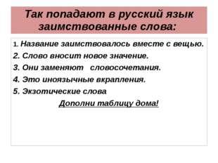 Так попадают в русский язык заимствованные слова: 1. Название заимствовалось