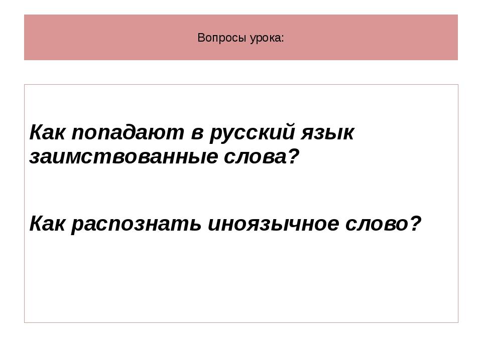 Вопросы урока: Как попадают в русский язык заимствованные слова? Как распозн...