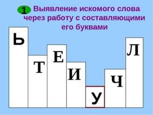 Выявление искомого слова через работу с составляющими его буквами Ь 1 1