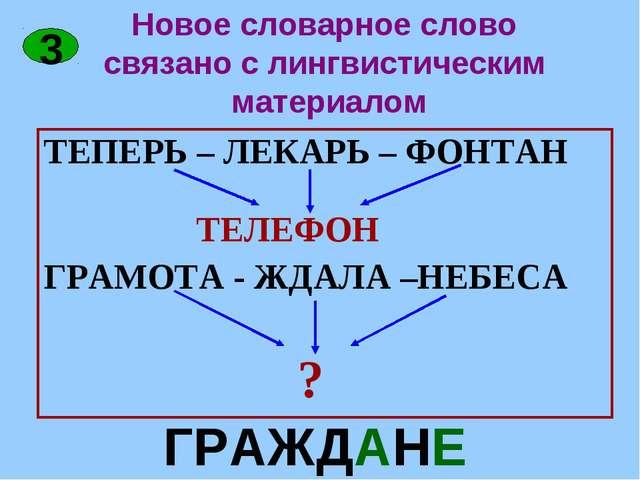 Новое словарное слово связано с лингвистическим материалом ТЕПЕРЬ – ЛЕКАРЬ –...
