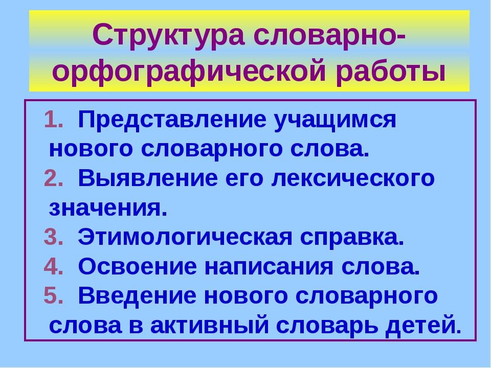 Структура словарно-орфографической работы 1. Представление учащимся нового сл...