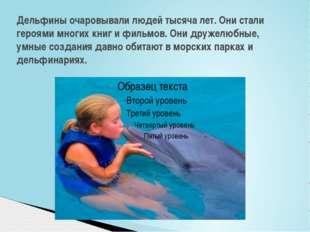 Дельфины очаровывали людей тысяча лет. Они стали героями многих книг и фильмо