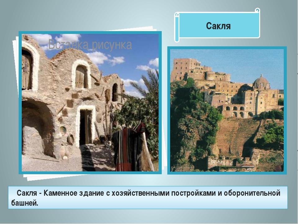 Сакля - Каменное здание с хозяйственными постройками и оборонительной башней...