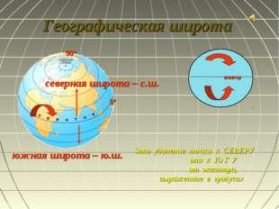 Географическая широта Это удаление точки к СЕВЕРУ или к Ю Г У от экватора, вы