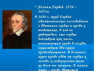 Уильям Гарвей 1578 – 1657гг. В 1628 г. труд Гарвея «Анатомические исследовани
