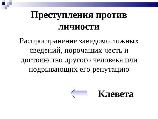 Преступления против личности Распространение заведомо ложных сведений, пороча...