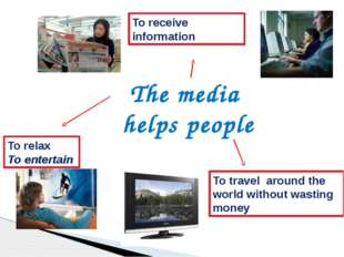 The media helps people To relax To entertain To receive information To travel