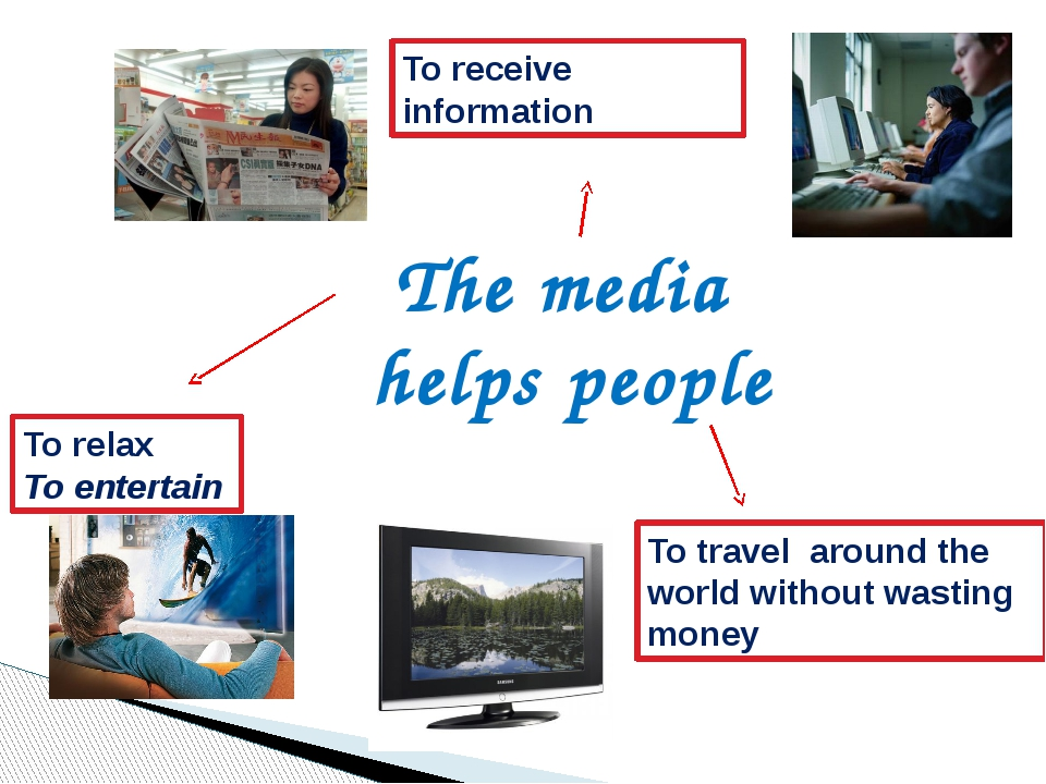 The media helps people To relax To entertain To receive information To travel...