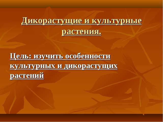 Дикорастущие и культурные растения. Цель: изучить особенности культурных и ди...